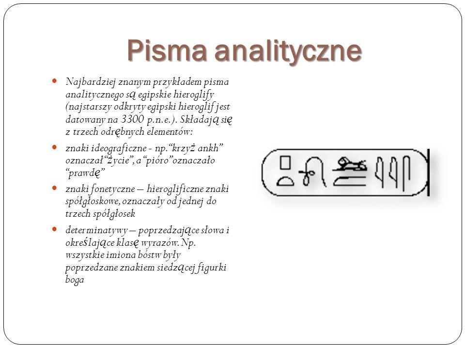 Pisma analityczne Najbardziej znanym przykładem pisma analitycznego s ą egipskie hieroglify (najstarszy odkryty egipski hieroglif jest datowany na 330