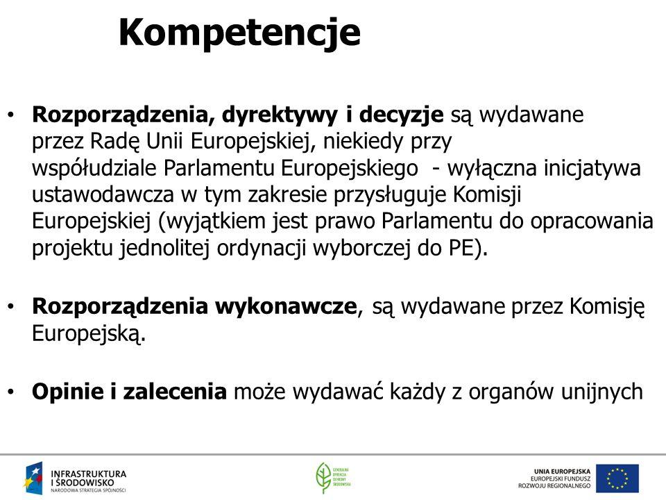 Kompetencje Rozporządzenia, dyrektywy i decyzje są wydawane przez Radę Unii Europejskiej, niekiedy przy współudziale Parlamentu Europejskiego - wyłącz