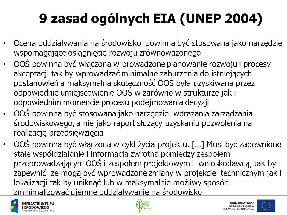 9 zasad ogólnych EIA (UNEP 2004) Ocena oddziaływania na środowisko powinna być stosowana jako narzędzie wspomagające osiągnięcie rozwoju zrównoważoneg