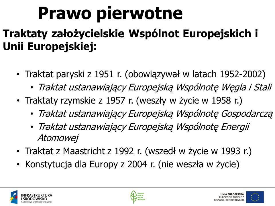 Prawo pierwotne Traktaty założycielskie Wspólnot Europejskich i Unii Europejskiej: Traktat paryski z 1951 r. (obowiązywał w latach 1952-2002) Traktat