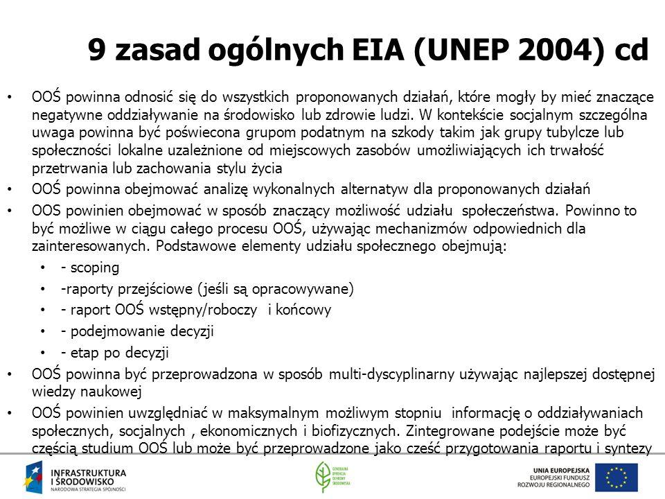 9 zasad ogólnych EIA (UNEP 2004) cd OOŚ powinna odnosić się do wszystkich proponowanych działań, które mogły by mieć znaczące negatywne oddziaływanie