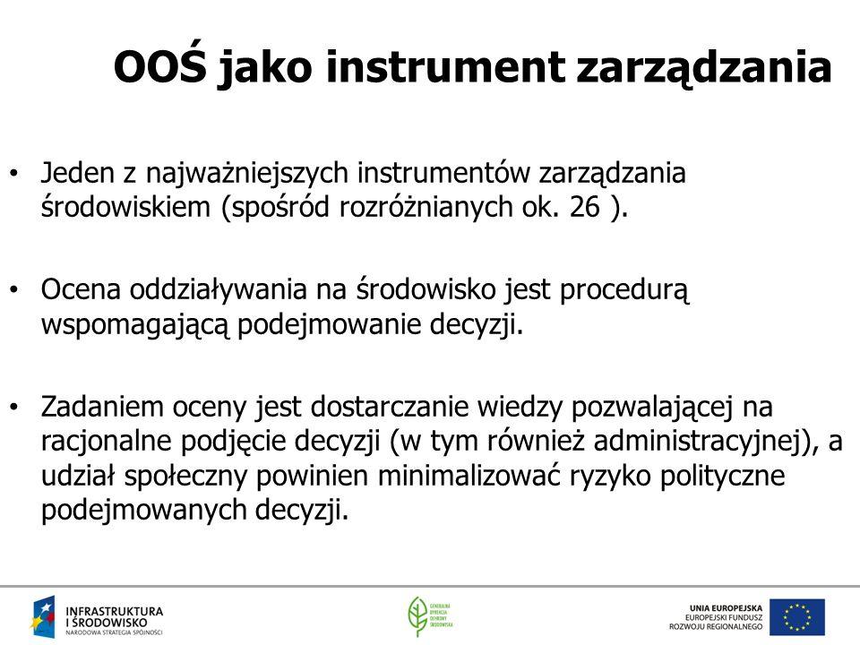 OOŚ jako instrument zarządzania Jeden z najważniejszych instrumentów zarządzania środowiskiem (spośród rozróżnianych ok. 26 ). Ocena oddziaływania na