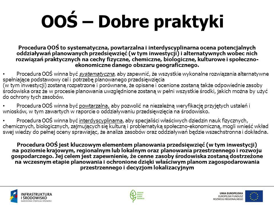OOŚ – Dobre praktyki Procedura OOŚ to systematyczna, powtarzalna i interdyscyplinarna ocena potencjalnych oddziaływań planowanych przedsięwzięć (w tym