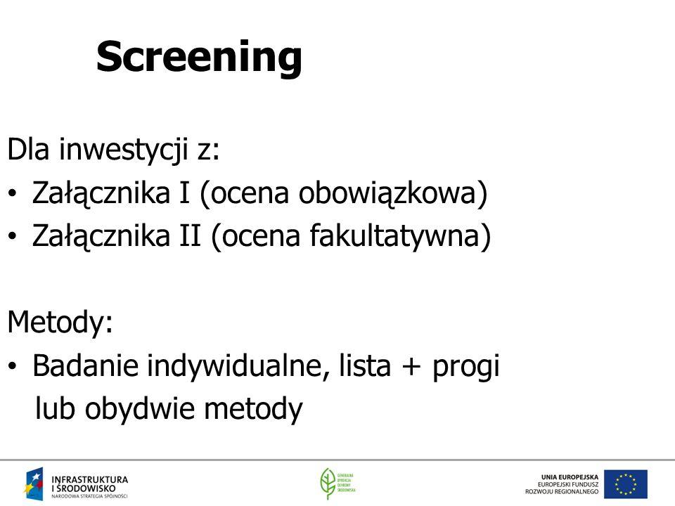 Screening Dla inwestycji z: Załącznika I (ocena obowiązkowa) Załącznika II (ocena fakultatywna) Metody: Badanie indywidualne, lista + progi lub obydwi