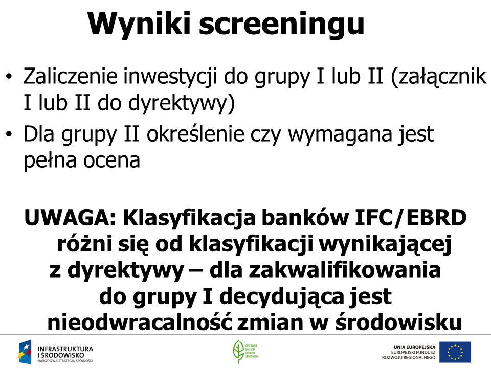 Wyniki screeningu Zaliczenie inwestycji do grupy I lub II (załącznik I lub II do dyrektywy) Dla grupy II określenie czy wymagana jest pełna ocena UWAG