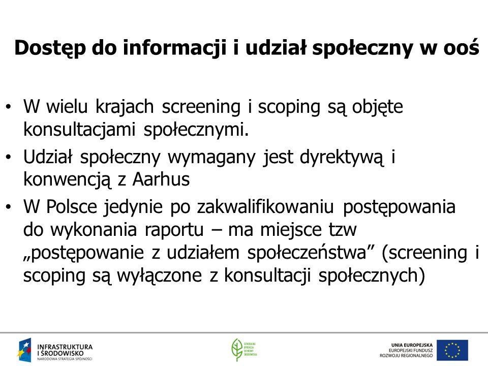 Dostęp do informacji i udział społeczny w ooś W wielu krajach screening i scoping są objęte konsultacjami społecznymi. Udział społeczny wymagany jest