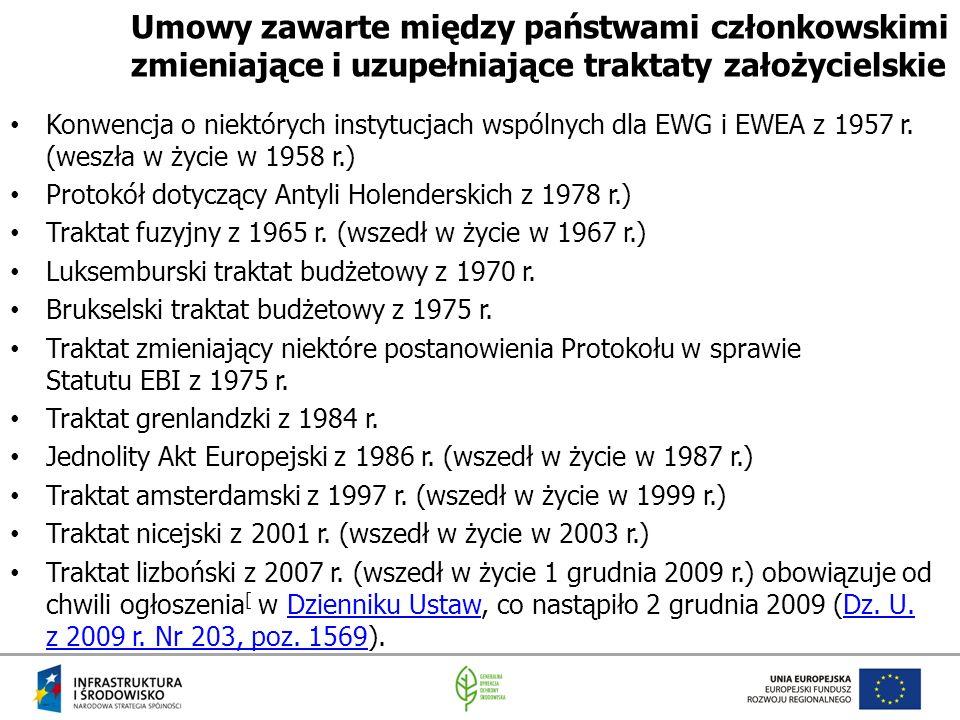 Umowy zawarte między państwami członkowskimi zmieniające i uzupełniające traktaty założycielskie Konwencja o niektórych instytucjach wspólnych dla EWG