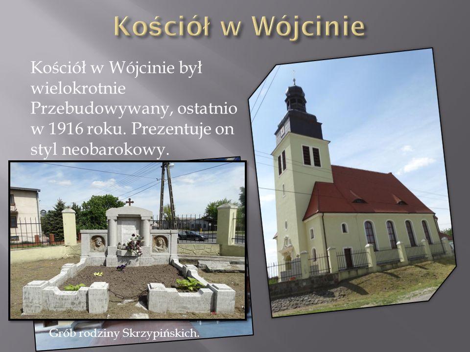Kościół w Wójcinie był wielokrotnie Przebudowywany, ostatnio w 1916 roku. Prezentuje on styl neobarokowy. Grób rodziny Skrzypińskich.