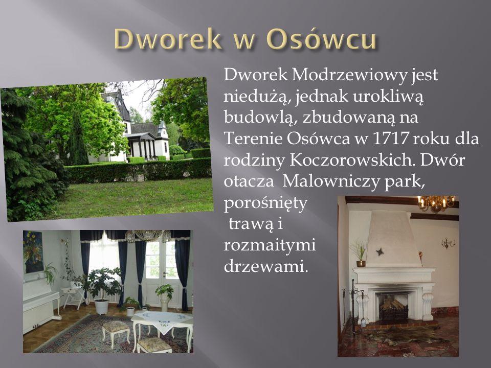 Dworek Modrzewiowy jest niedużą, jednak urokliwą budowlą, zbudowaną na Terenie Osówca w 1717 roku dla rodziny Koczorowskich. Dwór otacza Malowniczy pa