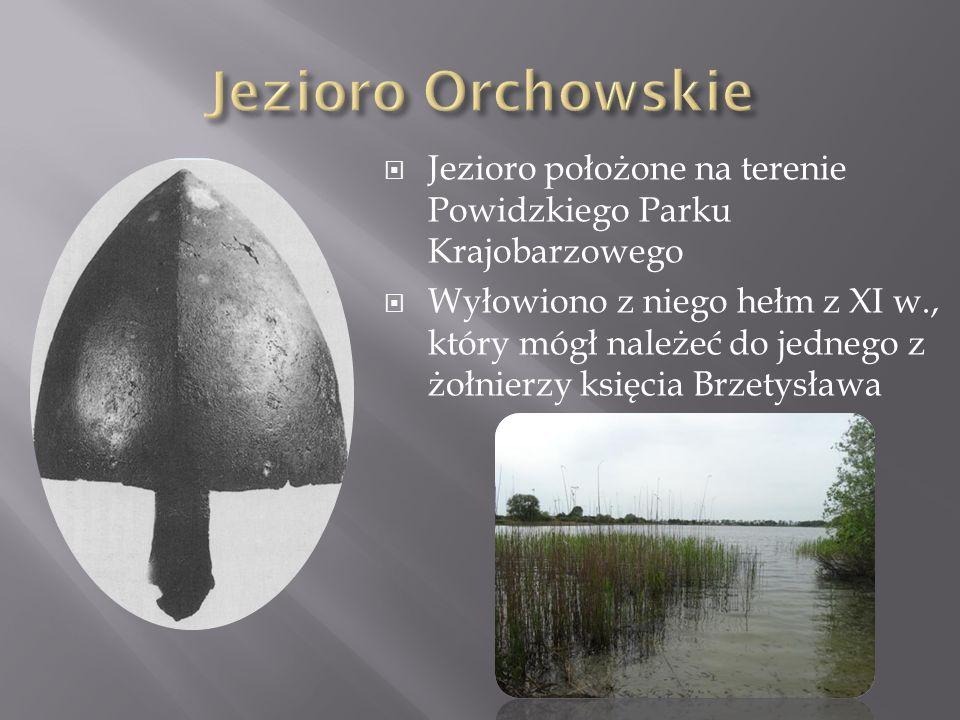  Jezioro położone na terenie Powidzkiego Parku Krajobarzowego  Wyłowiono z niego hełm z XI w., który mógł należeć do jednego z żołnierzy księcia Brz