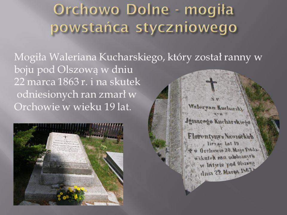 Mogiła Waleriana Kucharskiego, który został ranny w boju pod Olszową w dniu 22 marca 1863 r. i na skutek odniesionych ran zmarł w Orchowie w wieku 19