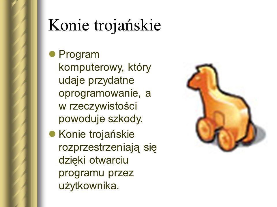 Konie trojańskie Program komputerowy, który udaje przydatne oprogramowanie, a w rzeczywistości powoduje szkody. Konie trojańskie rozprzestrzeniają się