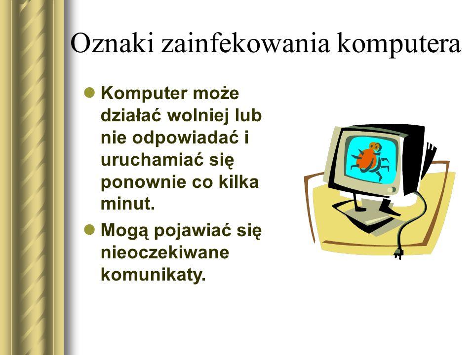 Oznaki zainfekowania komputera Komputer może działać wolniej lub nie odpowiadać i uruchamiać się ponownie co kilka minut. Mogą pojawiać się nieoczekiw