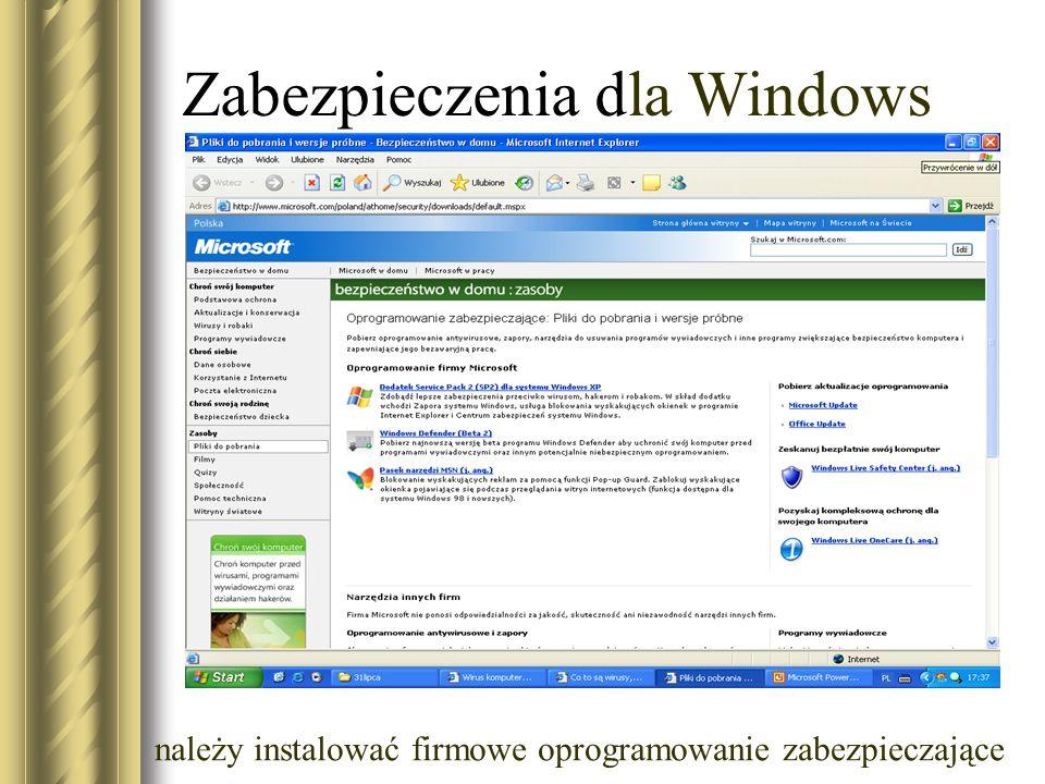 Zabezpieczenia dla Windows należy instalować firmowe oprogramowanie zabezpieczające