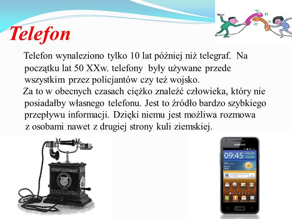 Telegraf Pierwszym elektrycznym wynalazkiem pomagającym w komunikacji był telegraf, który został wynaleziony w 1838r.