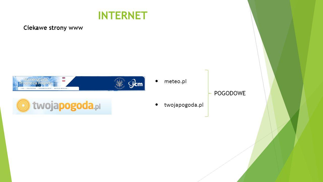 INTERNET Ciekawe strony www POGODOWE  meteo.pl  twojapogoda.pl