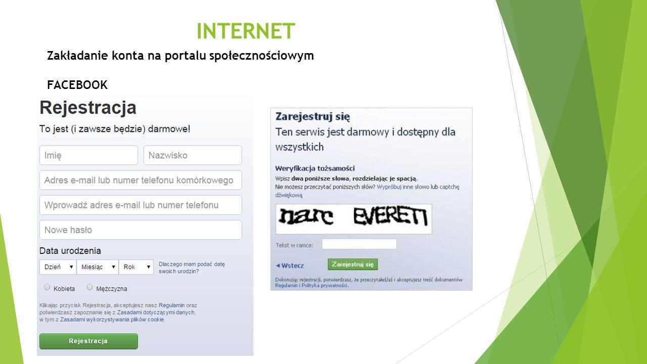 INTERNET Zakładanie konta na portalu społecznościowym FACEBOOK