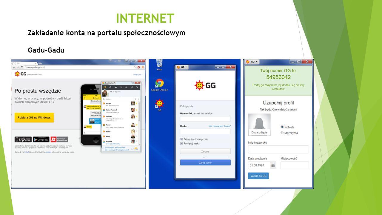 INTERNET Zakładanie konta na portalu społecznościowym Gadu-Gadu
