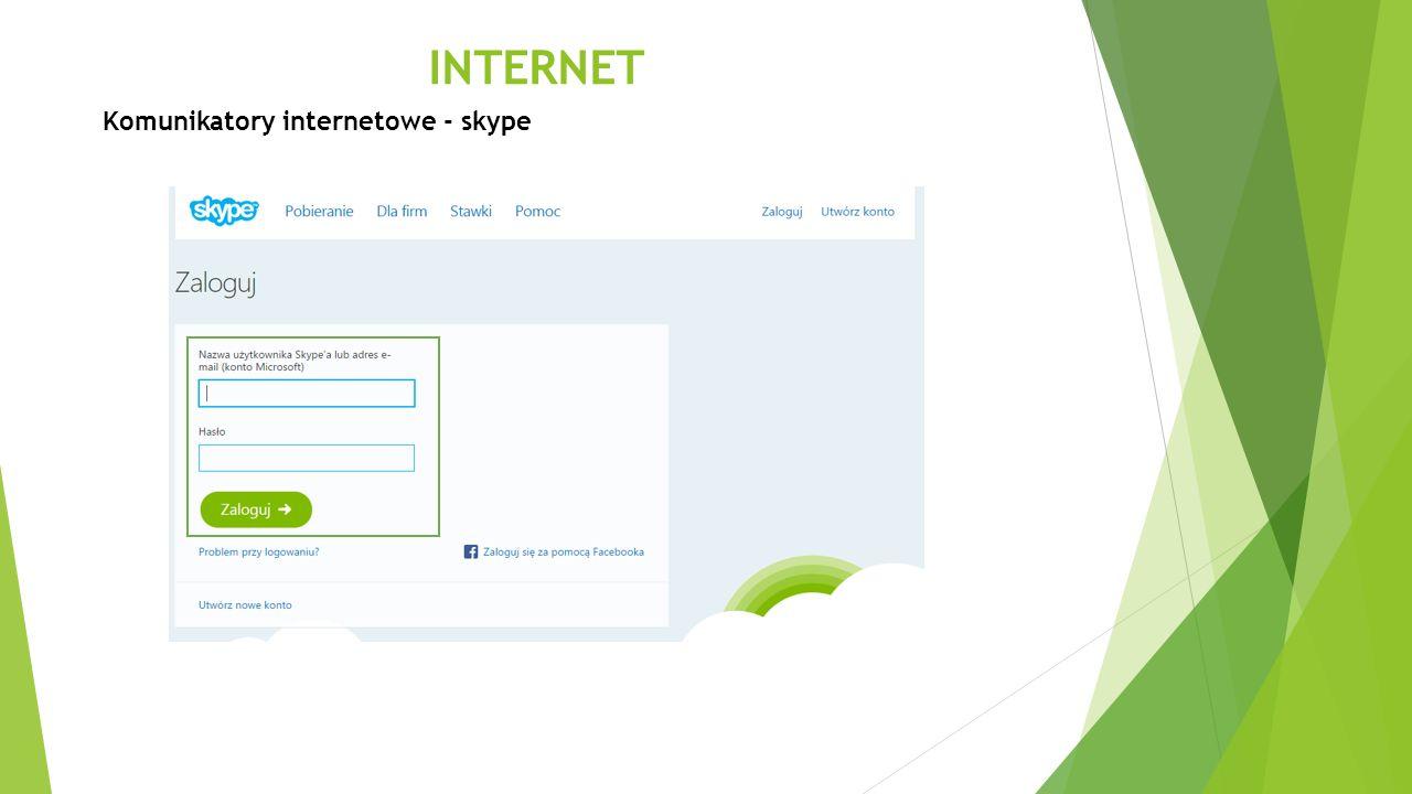 INTERNET Komunikatory internetowe - skype