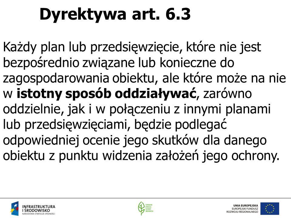 Dyrektywa art. 6.3 Każdy plan lub przedsięwzięcie, które nie jest bezpośrednio związane lub konieczne do zagospodarowania obiektu, ale które może na n