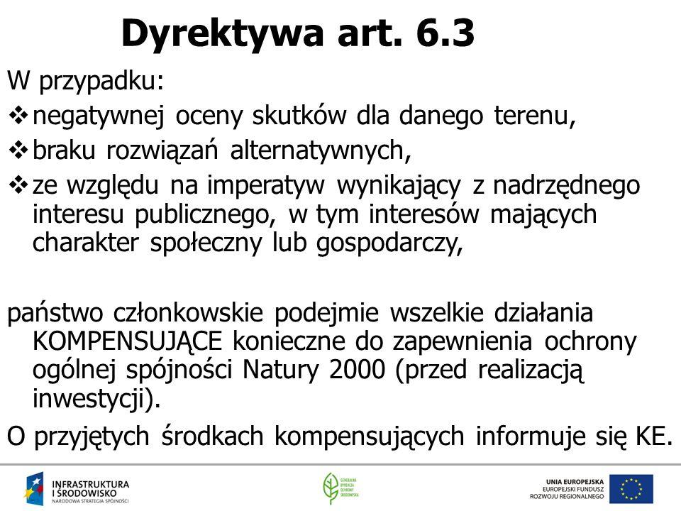 Dyrektywa art. 6.3 W przypadku:  negatywnej oceny skutków dla danego terenu,  braku rozwiązań alternatywnych,  ze względu na imperatyw wynikający z