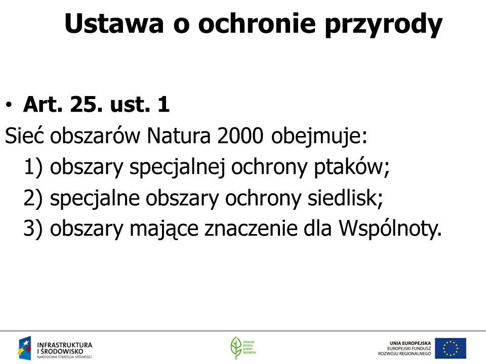 Ustawa o ochronie przyrody Art. 25. ust. 1 Sieć obszarów Natura 2000 obejmuje: 1) obszary specjalnej ochrony ptaków; 2) specjalne obszary ochrony sied