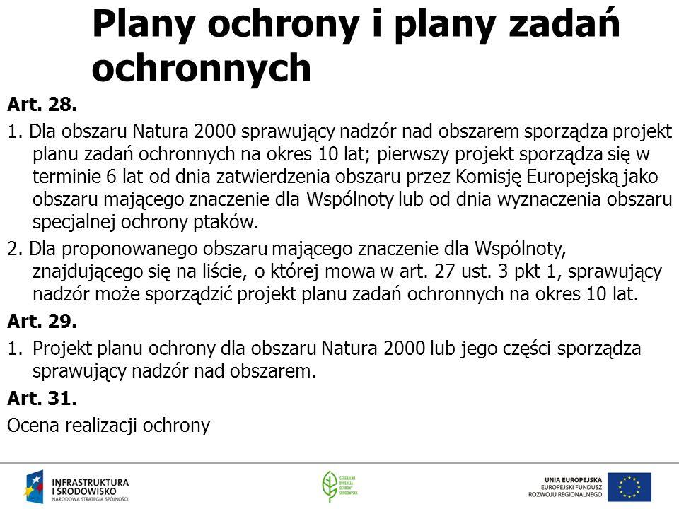Plany ochrony i plany zadań ochronnych Art. 28. 1. Dla obszaru Natura 2000 sprawujący nadzór nad obszarem sporządza projekt planu zadań ochronnych na
