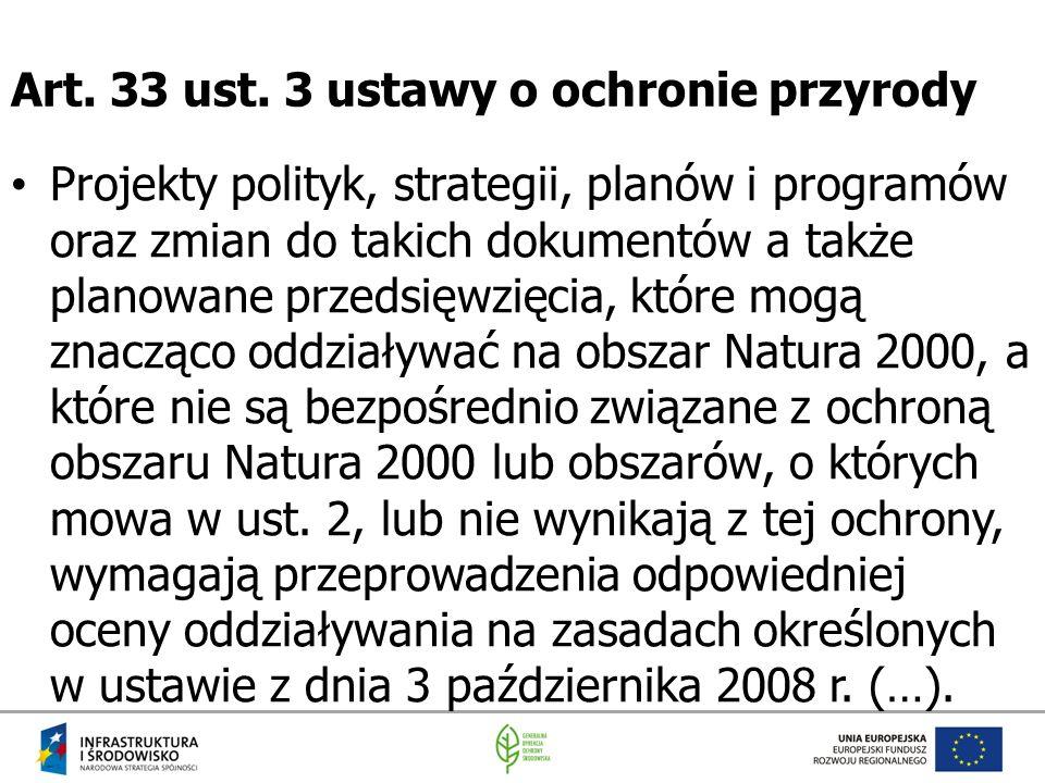 Art. 33 ust. 3 ustawy o ochronie przyrody Projekty polityk, strategii, planów i programów oraz zmian do takich dokumentów a także planowane przedsięwz