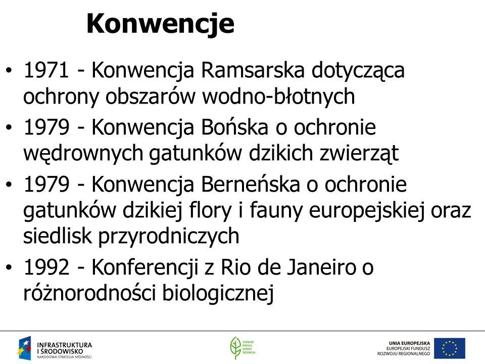Konwencje 1971 - Konwencja Ramsarska dotycząca ochrony obszarów wodno-błotnych 1979 - Konwencja Bońska o ochronie wędrownych gatunków dzikich zwierząt 1979 - Konwencja Berneńska o ochronie gatunków dzikiej flory i fauny europejskiej oraz siedlisk przyrodniczych 1992 - Konferencji z Rio de Janeiro o różnorodności biologicznej