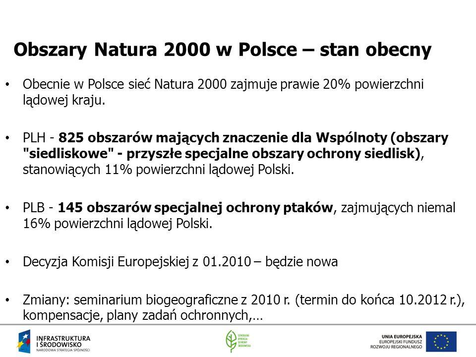Obszary Natura 2000 w Polsce – stan obecny Obecnie w Polsce sieć Natura 2000 zajmuje prawie 20% powierzchni lądowej kraju. PLH - 825 obszarów mających