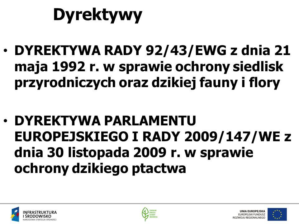 Dyrektywy DYREKTYWA RADY 92/43/EWG z dnia 21 maja 1992 r. w sprawie ochrony siedlisk przyrodniczych oraz dzikiej fauny i flory DYREKTYWA PARLAMENTU EU