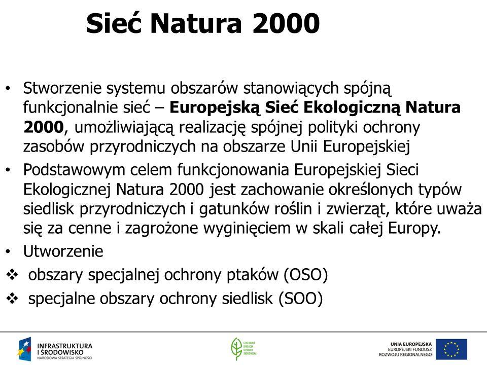 Sieć Natura 2000 Stworzenie systemu obszarów stanowiących spójną funkcjonalnie sieć – Europejską Sieć Ekologiczną Natura 2000, umożliwiającą realizacj