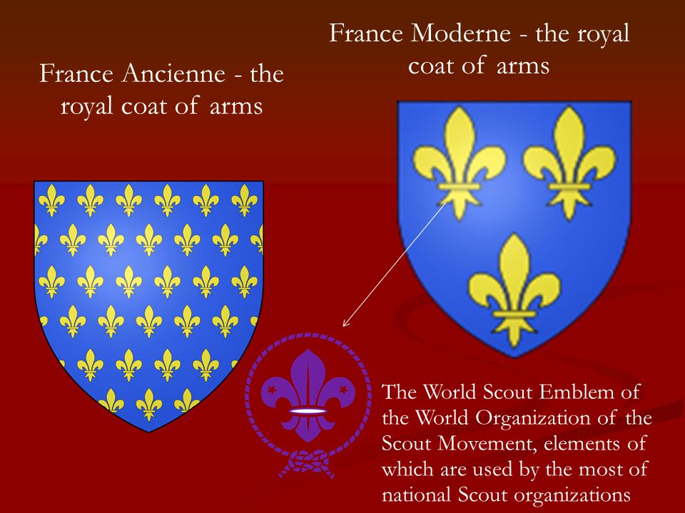 France Ancienne - the royal coat of arms France Moderne - the royal coat of arms The World Scout Emblem of the World Organization of the Scout Movement, elements of which are used by the most of national Scout organizations