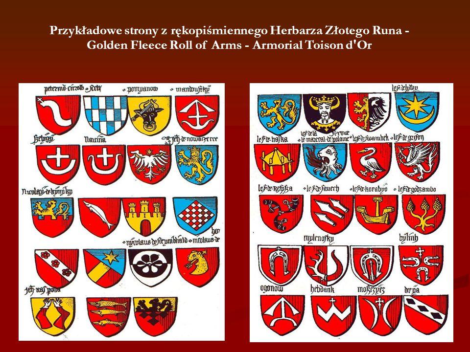 Przykładowe strony z rękopiśmiennego Herbarza Złotego Runa - Golden Fleece Roll of Arms - Armorial Toison d Or