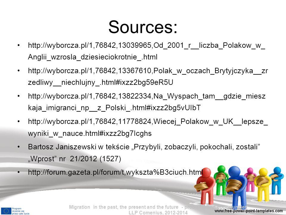 Sources: http://wyborcza.pl/1,76842,13039965,Od_2001_r__liczba_Polakow_w_ Anglii_wzrosla_dziesieciokrotnie_.html http://wyborcza.pl/1,76842,13367610,P