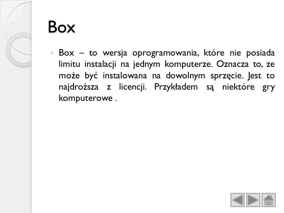 Box Box – to wersja oprogramowania, które nie posiada limitu instalacji na jednym komputerze.