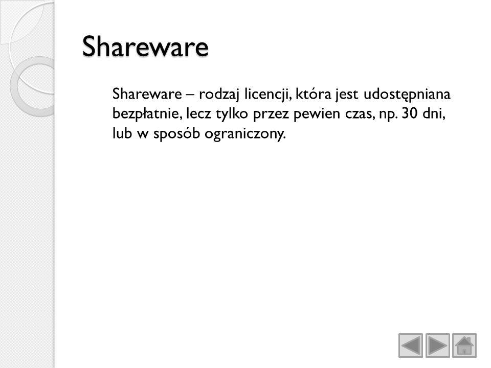 Shareware Shareware – rodzaj licencji, która jest udostępniana bezpłatnie, lecz tylko przez pewien czas, np.