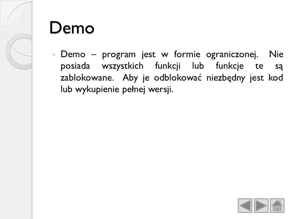 Demo Demo – program jest w formie ograniczonej.