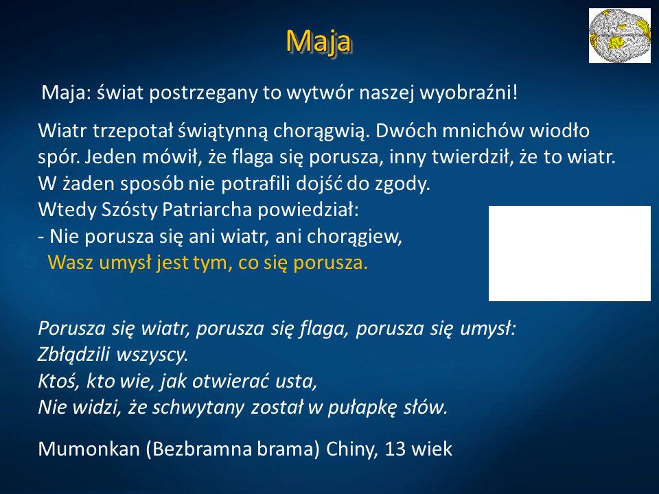 MajaMaja Maja: świat postrzegany to wytwór naszej wyobraźni! Wiatr trzepotał świątynną chorągwią. Dwóch mnichów wiodło spór. Jeden mówił, że flaga się