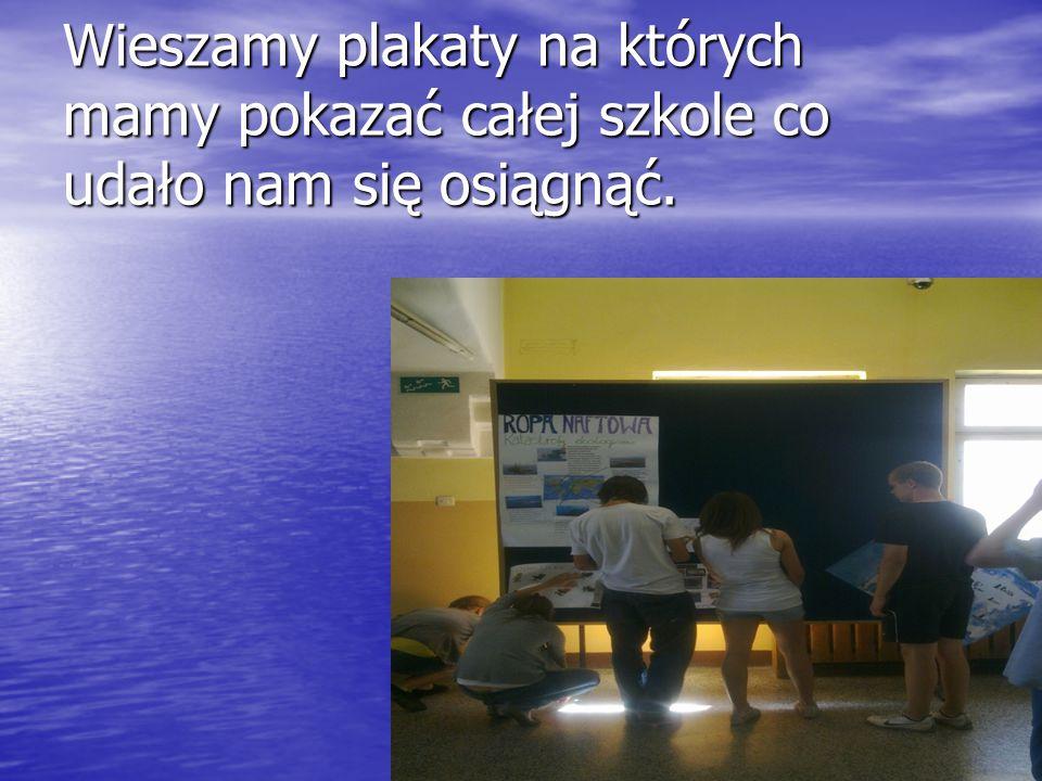 Wieszamy plakaty na których mamy pokazać całej szkole co udało nam się osiągnąć.