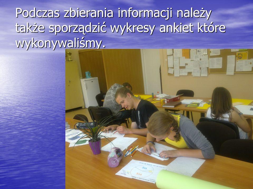 Podczas zbierania informacji należy także sporządzić wykresy ankiet które wykonywaliśmy.