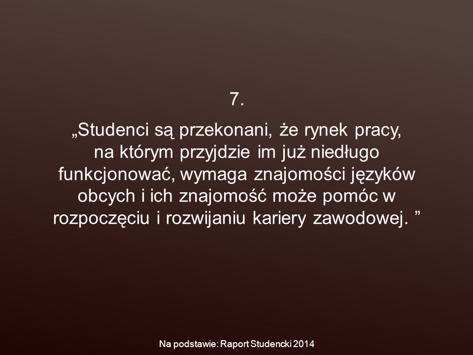 """7. """"Studenci są przekonani, że rynek pracy, na którym przyjdzie im już niedługo funkcjonować, wymaga znajomości języków obcych i ich znajomość może po"""