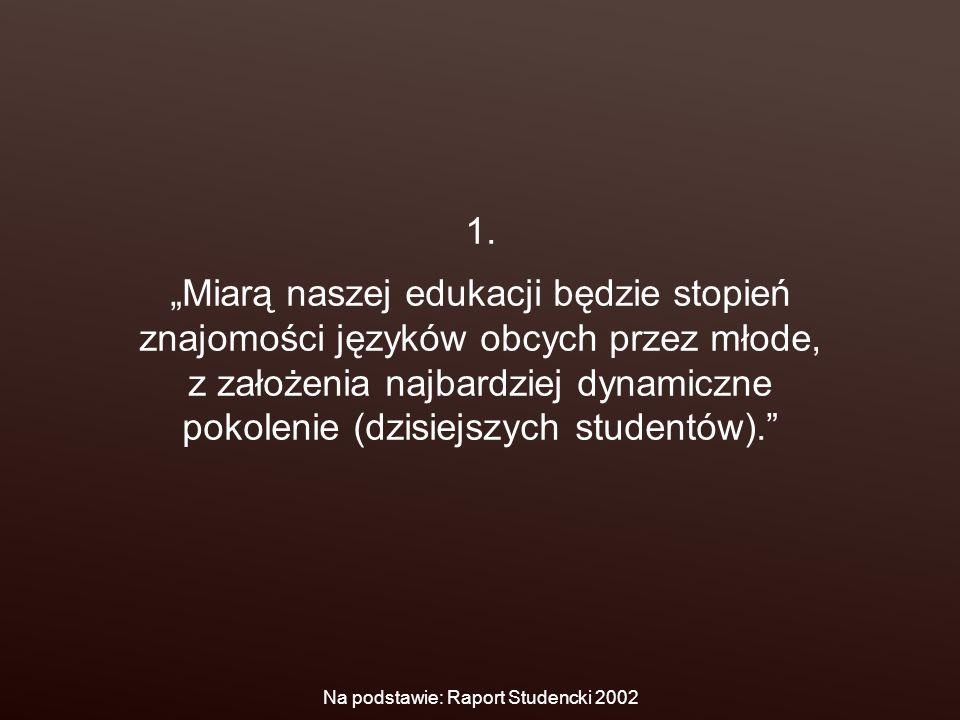 """1. """"Miarą naszej edukacji będzie stopień znajomości języków obcych przez młode, z założenia najbardziej dynamiczne pokolenie (dzisiejszych studentów)."""
