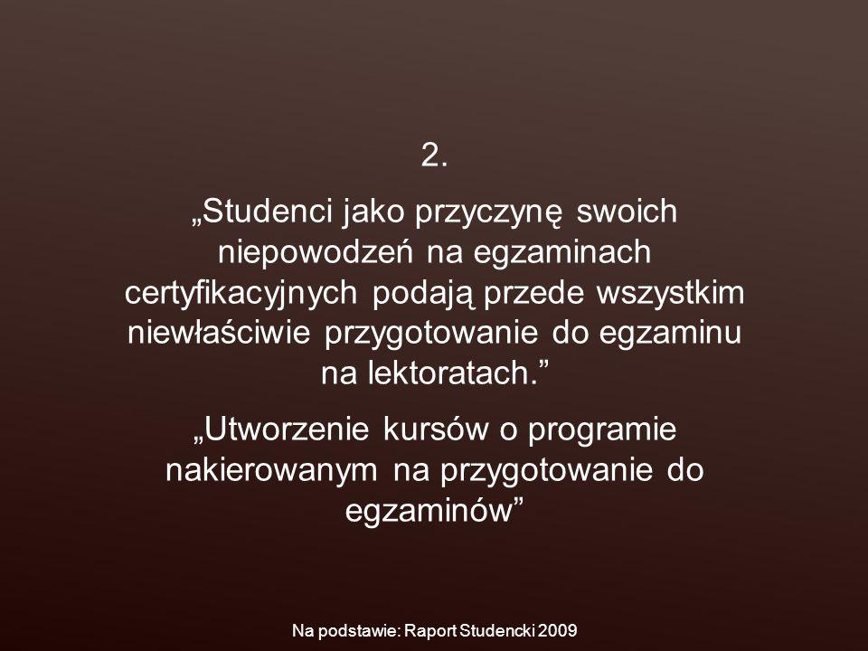 """2. """"Studenci jako przyczynę swoich niepowodzeń na egzaminach certyfikacyjnych podają przede wszystkim niewłaściwie przygotowanie do egzaminu na lektor"""