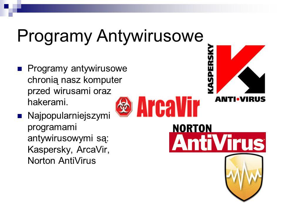 Programy Antywirusowe Programy antywirusowe chronią nasz komputer przed wirusami oraz hakerami. Najpopularniejszymi programami antywirusowymi są: Kasp