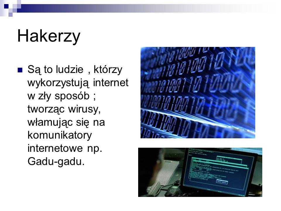 Hakerzy Są to ludzie, którzy wykorzystują internet w zły sposób ; tworząc wirusy, włamując się na komunikatory internetowe np.