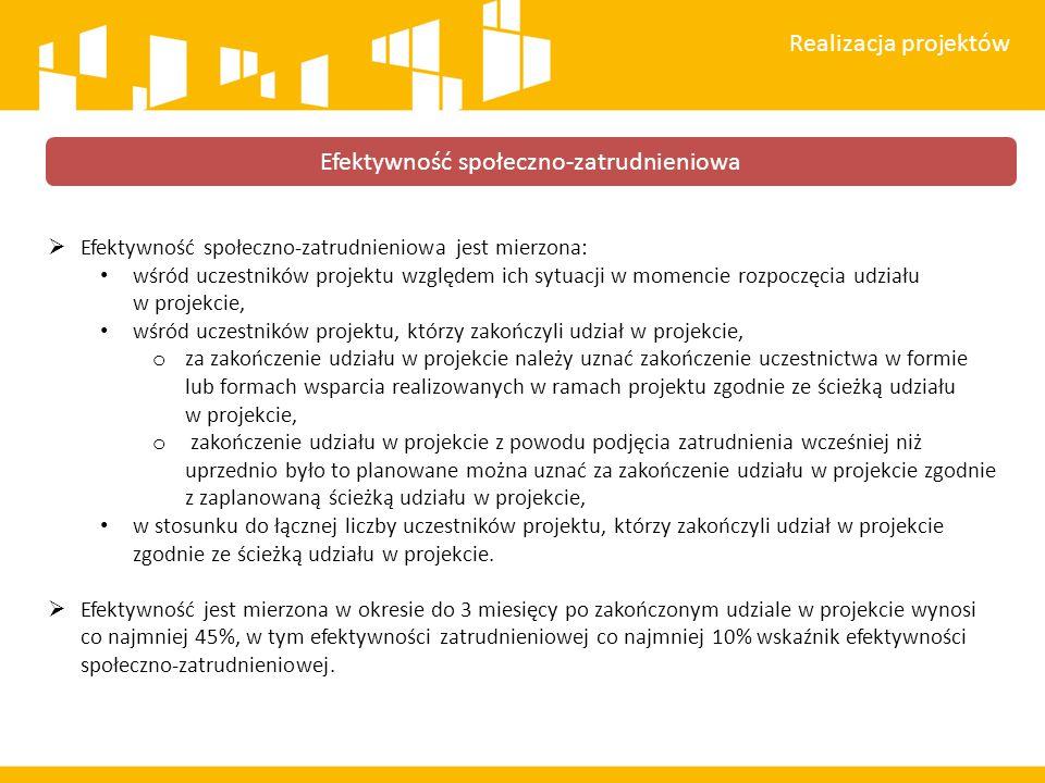  Efektywność społeczno-zatrudnieniowa jest mierzona: wśród uczestników projektu względem ich sytuacji w momencie rozpoczęcia udziału w projekcie, wśr