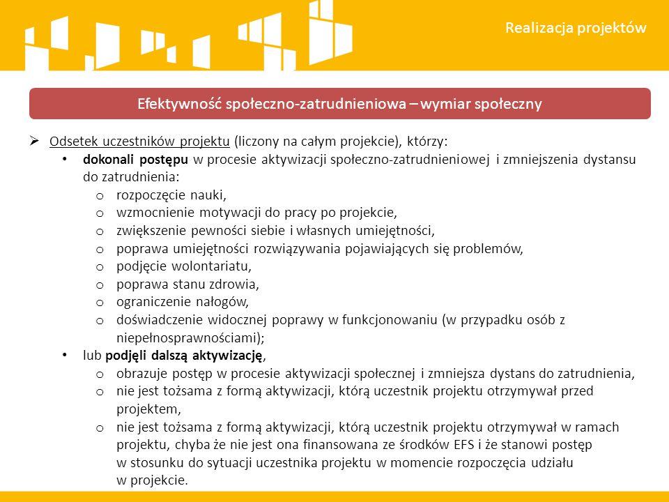  Odsetek uczestników projektu (liczony na całym projekcie), którzy: dokonali postępu w procesie aktywizacji społeczno-zatrudnieniowej i zmniejszenia