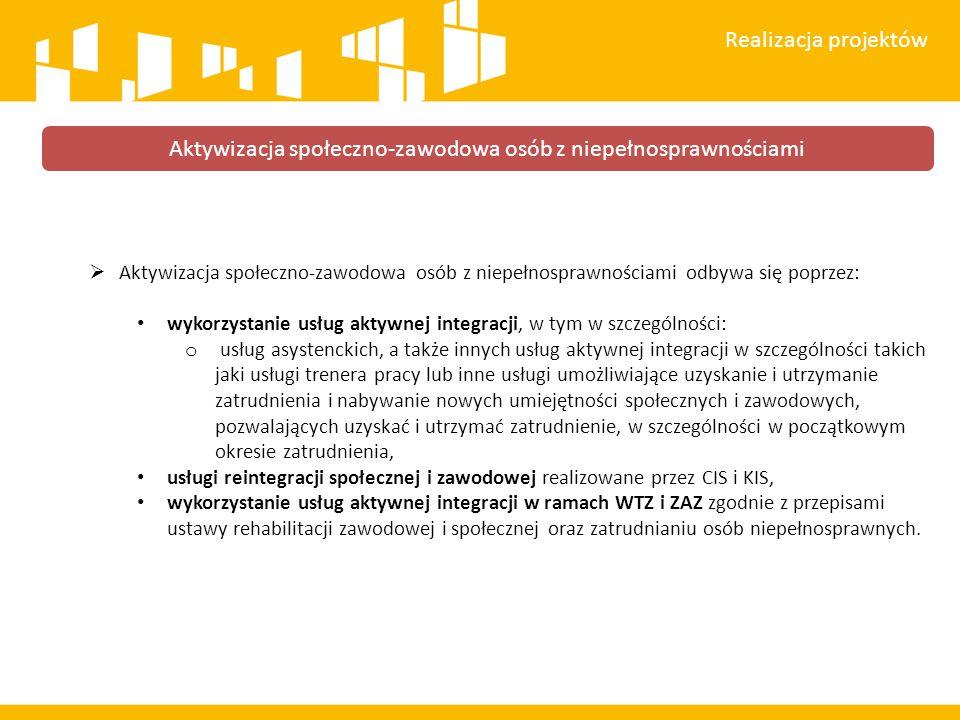 Aktywizacja społeczno-zawodowa osób z niepełnosprawnościami odbywa się poprzez: wykorzystanie usług aktywnej integracji, w tym w szczególności: o us