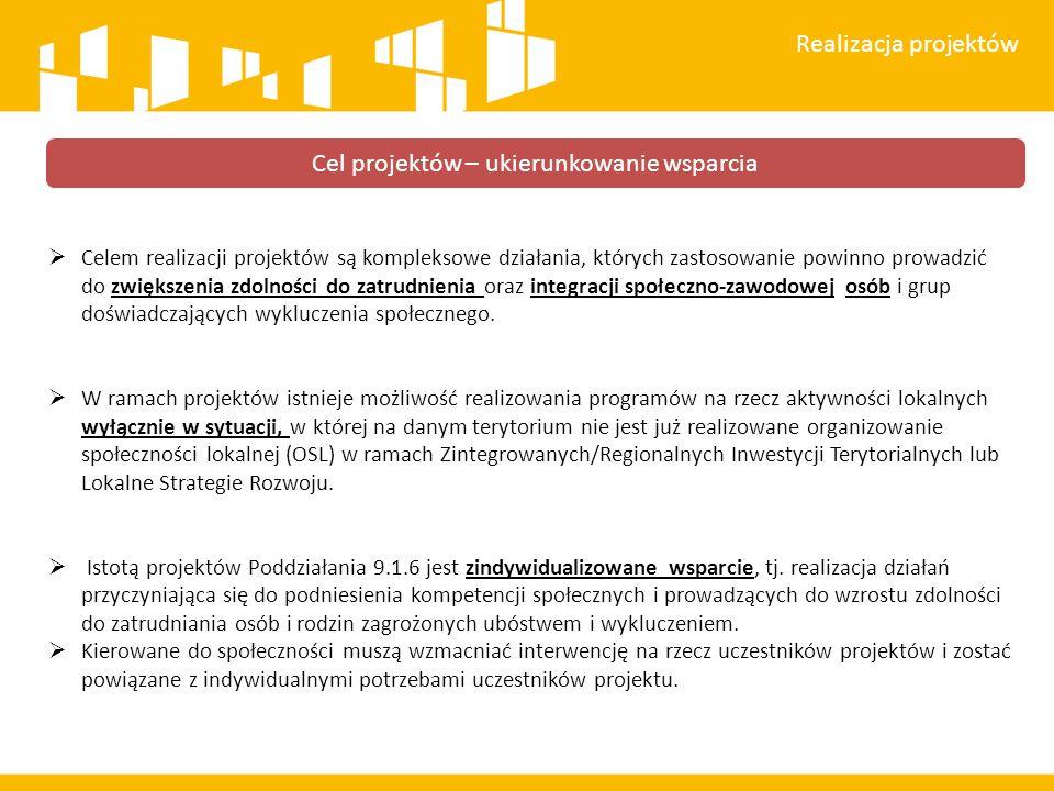  Celem realizacji projektów są kompleksowe działania, których zastosowanie powinno prowadzić do zwiększenia zdolności do zatrudnienia oraz integracji